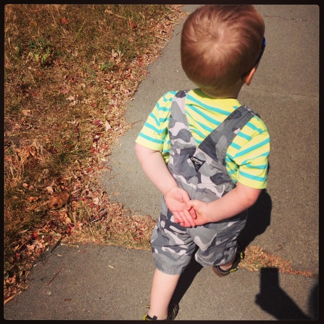 Little Mr Independent doesn't want anyone to hold his hands while we walk.