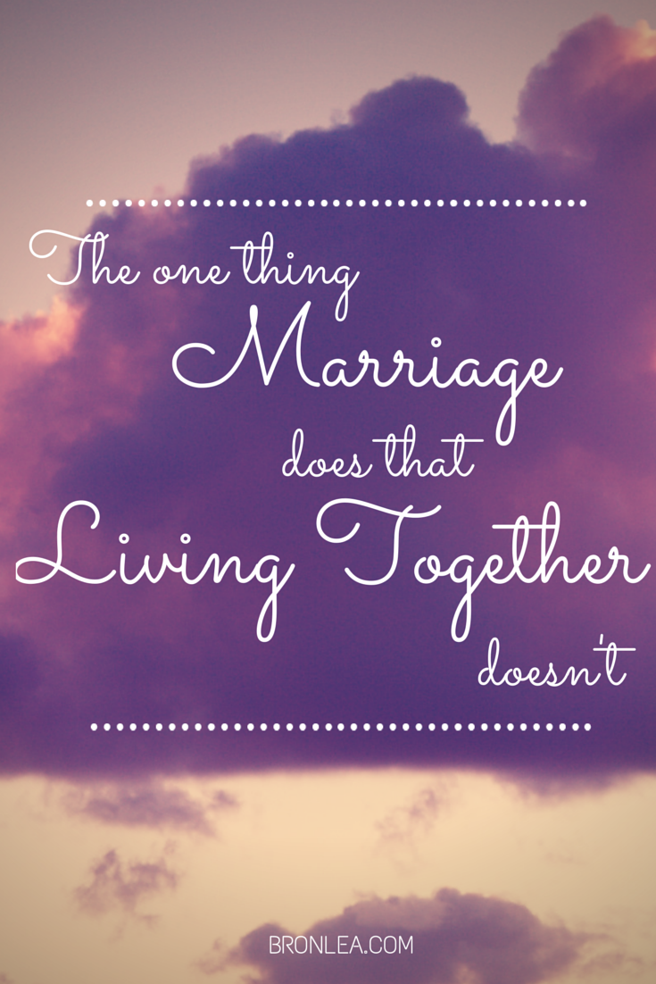 marriage vs living together Living together means two people sharing a house but living alone.