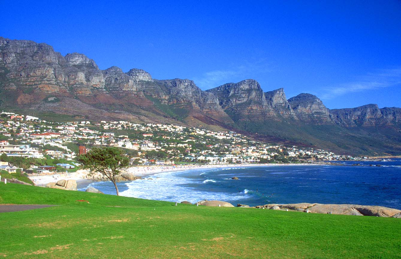 CPT Cape Town Camps Bay beach with Twelve Apostles b